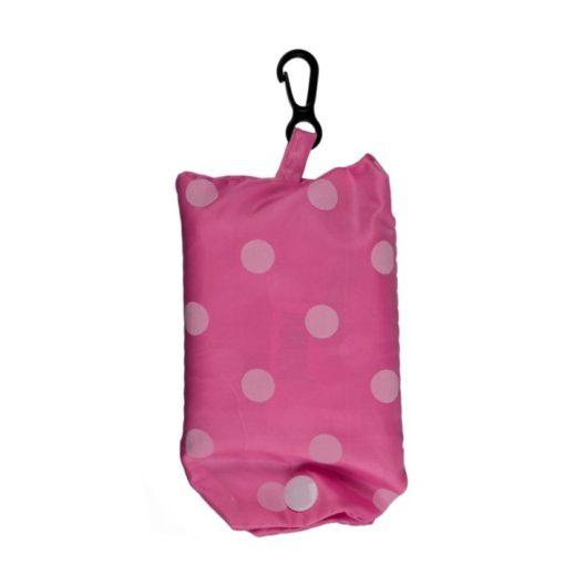 Újrahasználható bevásárlótáska pink-apró r.szín pötty