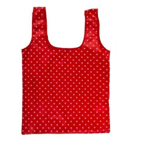 Újrahasználható bevásárlótáska piros-nagy fehér pötty