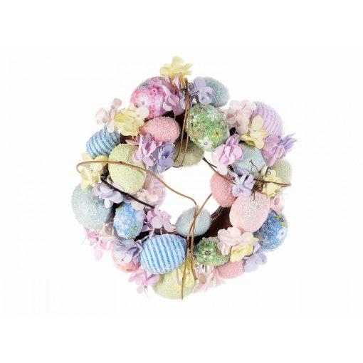 Színes pasztell tojás-virág koszorú