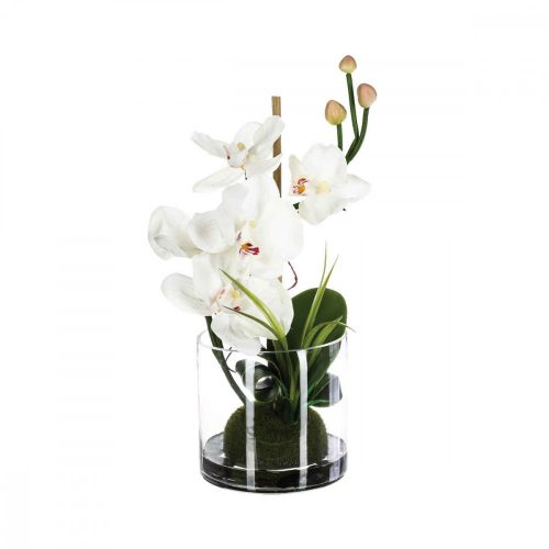 Virág dekoráció kompozíció fehér 33cm