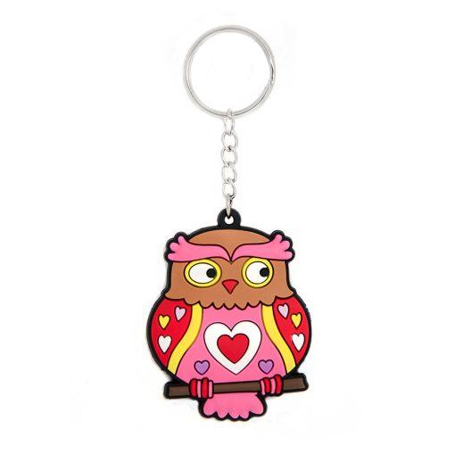 Kulcstartó bagoly pink szív