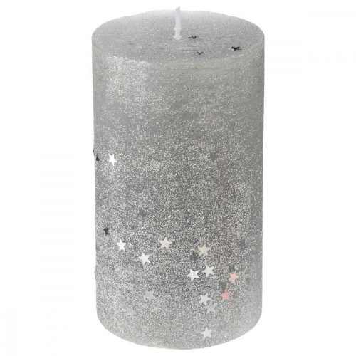 Glitter gyertya ezüst L