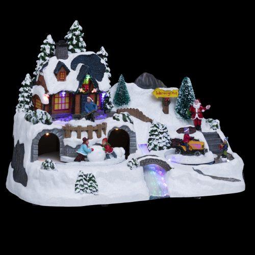 Karácsonyi mozgó dekoráció Erdei házikó