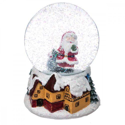 Zenélő hógömb Santa 10cm