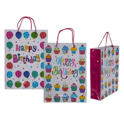 Ajándéktáska Happy Birthday színes L