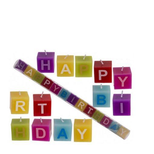 Színes Happy Birthday gyertyaszett