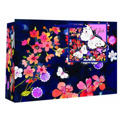 Ajándéktáska Dark Floral + ajándékkártya