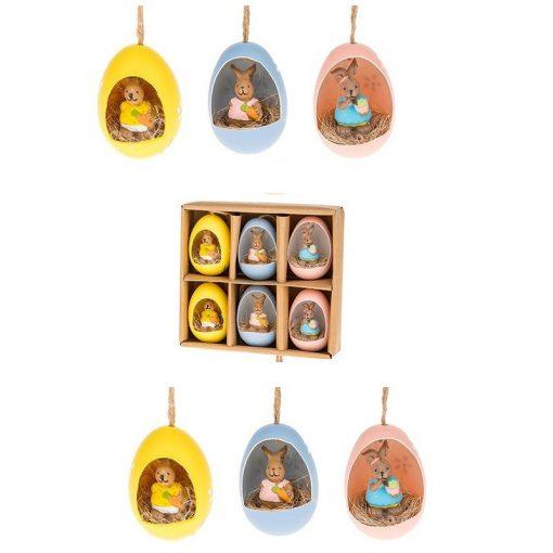 6db-os nyuszi húsvéti dekorációs tojásszett