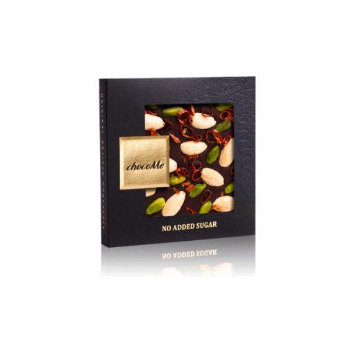 Cukormentes: étcsokoládé chili-pisztácia-mandula 50g