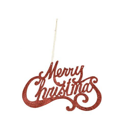 Akasztós dekoráció Merry Christmas piros