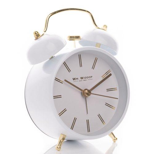 Ébresztőóra Double Bell 12cm fehér