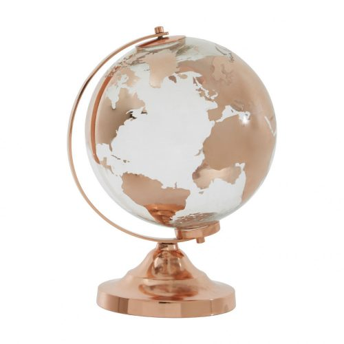 Churchill üveg földgömb copper
