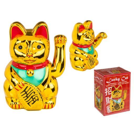 Integető cica arany