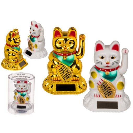 Napelemes integető cica arany