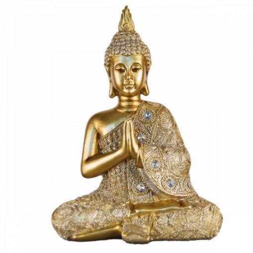 Ülő bronz buddha dekoráció 27cm