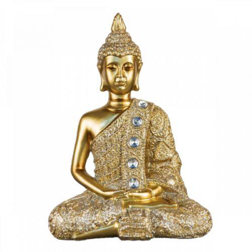 Ülő buddha dekoráció 17cm