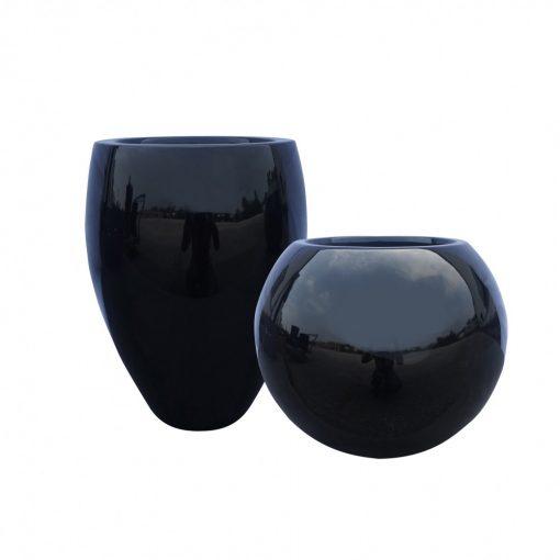Fekete lakk kaspó gömb