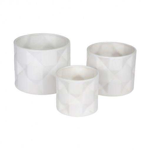 Fehér Hexa Origami kaspó közepes