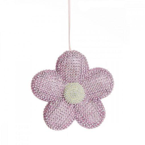 Kristály gyöngyös virág pink 21cm