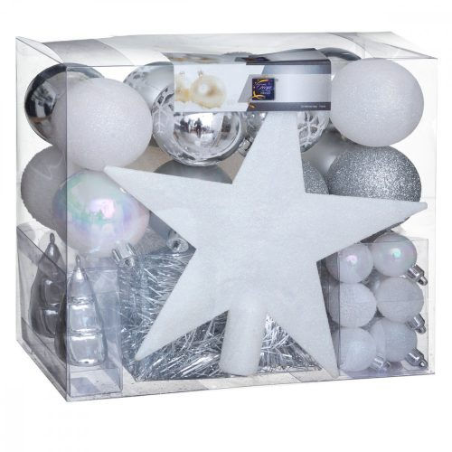 44db-os karácsonyfadísz szett Xmas fehér-ezüst