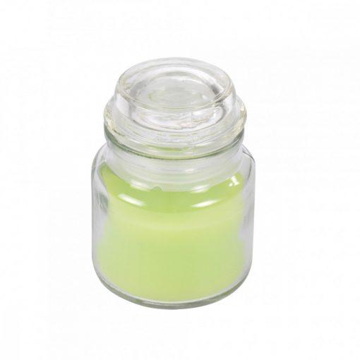 Gyertya fedeles üvegben zöld alma