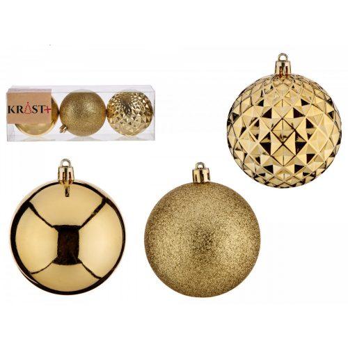 3db-os 8cm-es karácsonyfadísz szett Unique arany
