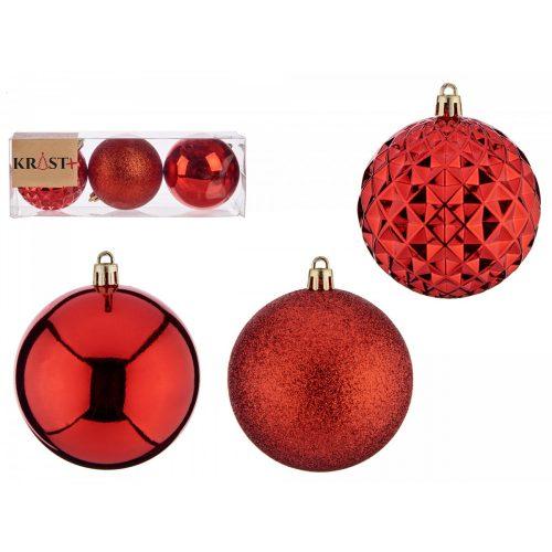 3db-os 8cm-es karácsonyfadísz szett Unique piros