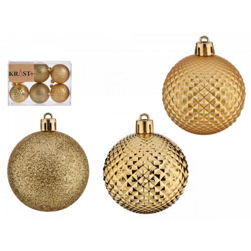 6db-os 6cm-es karácsonyfadísz szett Wish arany