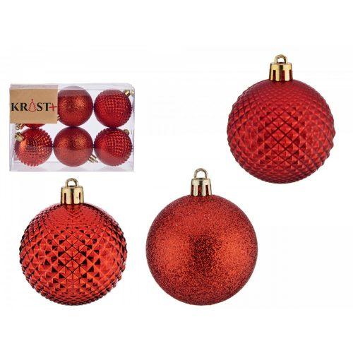 6db-os 6cm-es karácsonyfadísz szett Wish piros