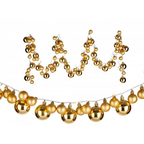 93 gömbös karácsonyi girland arany