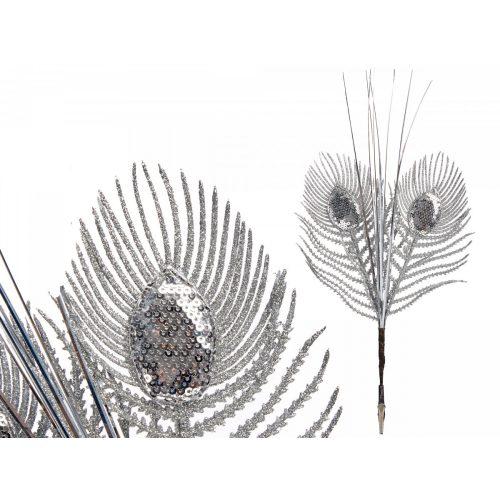 Karácsonyfadísz tollas ezüst