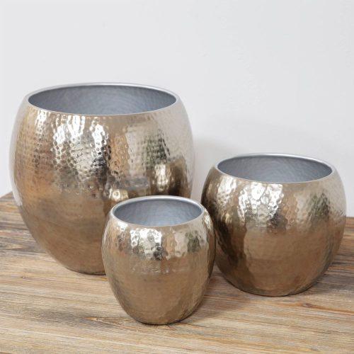 3db-os kaspó szett Textured silver