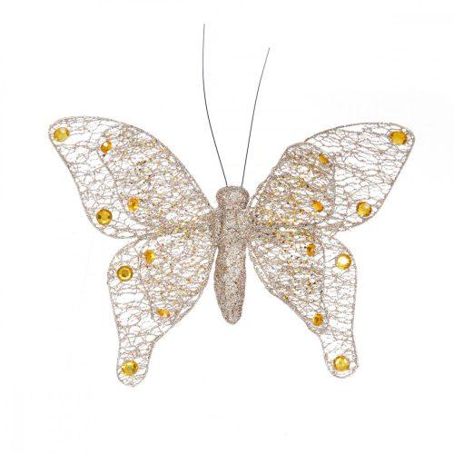 Glitter pillangó dupla szárnyú arany