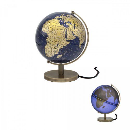 Világító földgömb arany-kék