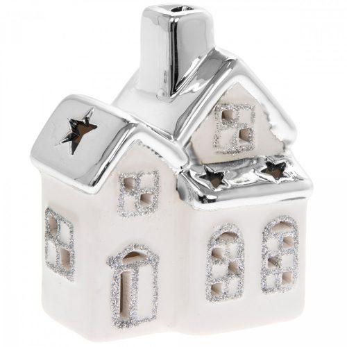 LED dekorációs házikó fehér-ezüst