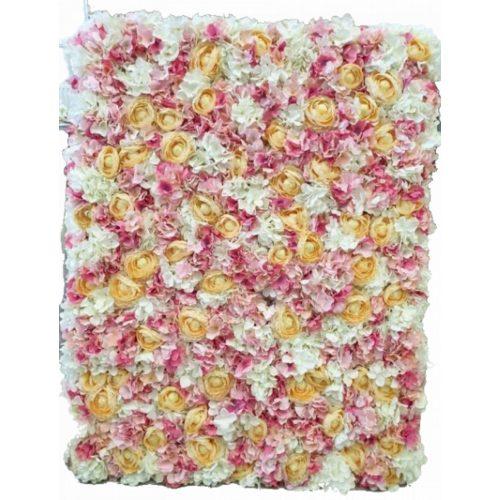 Virágfal hortenzia-bazsarózsa kombináció