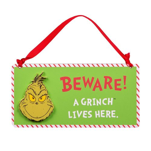 Tábla 'Beware A Grinch Lives Here'