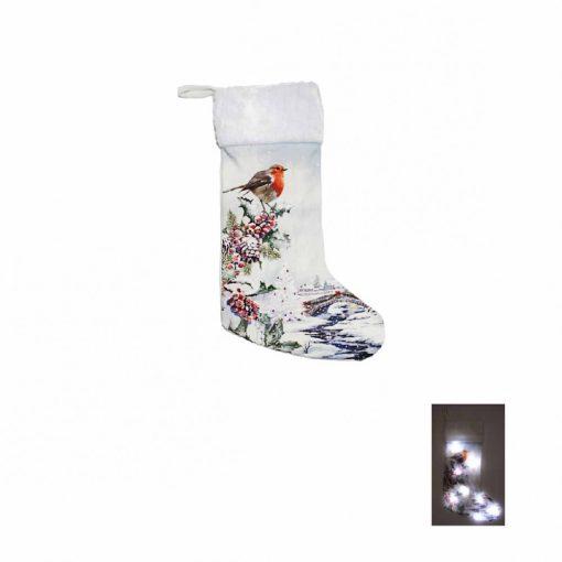 LED-es télapó csizma Madárka