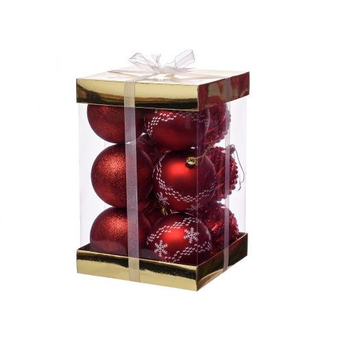 12db-os Christmas dísz piros