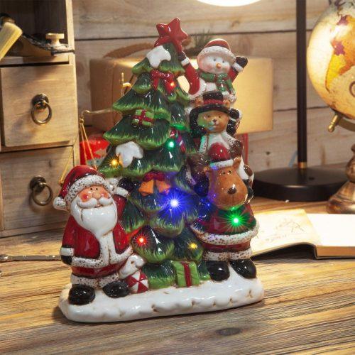 Télapó karácsonyfával LED-es zenélő dekoráció